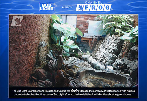 Bud Light's Channel Frog Goes Live